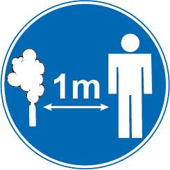 1m safety distance sign